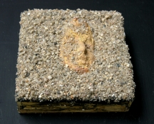 Gilda Pervin  Sculpture Portland cement, sand, coarse sand aggregate, acrylic medium and paint, on wood