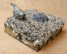 Gilda Pervin  Sculpture Portland cement, sand, coarse sand aggregate, acrylic medium and paint, bird form , on wood