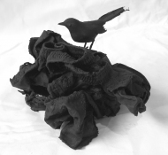Gilda Pervin  Sculpture Rags of underwear, acrylic paint, birdform