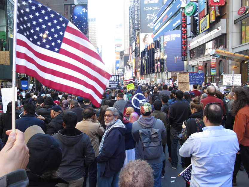 GINA FUENTES WALKER  I Am a Muslim Too Rally, Times Square NYC<br/>
