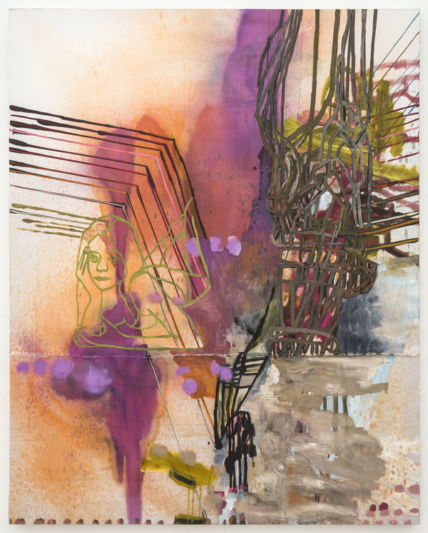 Gina Magid Recent Work oil paint, fabric dye, sumi ink and pastel on satin