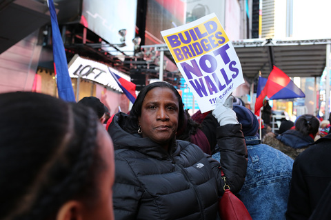 Gina Randazzo Martin Luther King Day 1199 SEIU United Healthcare Workers East Rally Against Racism: Stand Up for Haiti and Africa Times Square 1/15/17