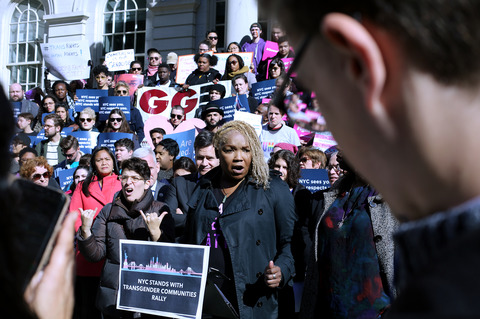 Gina Randazzo NYC Stands With Transgender Community Rally City Hall Steps 10/24/18