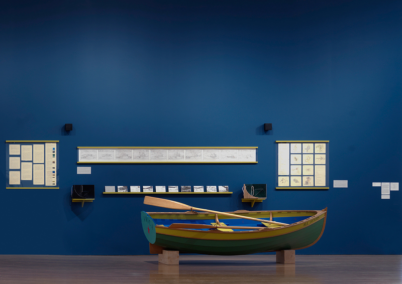 Gina Siepel Re-Surveying Walden installation and handmade boat