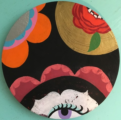 Ginna Triplett 2016-2017 acrylic and gouache on circular wood