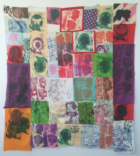 Ginna Triplett 2011-2015 woodcut prints on pieces of fabric, sewn together