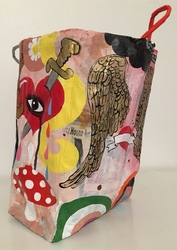 Ginna Triplett 2018/2019 Acrylic on papier-mâché over paper bag