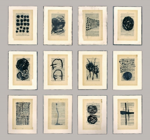 Gwendolyn Plunkett New Language Grid - Booked  Ink, old book pages, encaustic medium, oil bar on panel