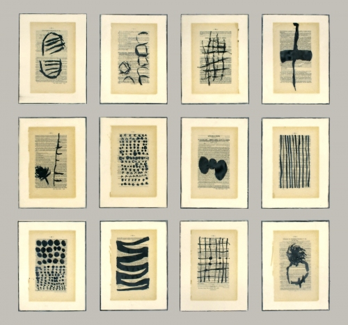 Gwendolyn Plunkett New Language Grid - Booked  Ink, old book pages, oil bar and encaustic medium on panels