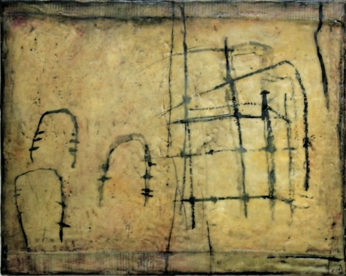 Gwendolyn Plunkett Linear A Ink, oil bar, encaustic medium, heavy Lokta paper, book pages, on panel