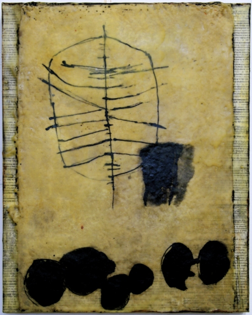 Gwendolyn Plunkett Linear A India Ink, Lokta paper, old book pages, oil bar, encaustic medium on panel