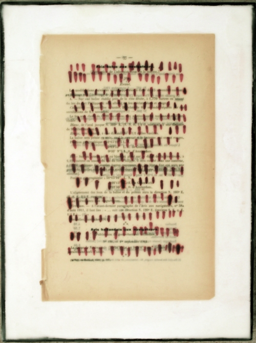 Gwendolyn Plunkett New Language Grid - Booked  Ink Drawing on old book page with encaustic on panel