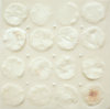 Rituals and Slow Burn Encaustic medium, cotton cleansing pads, white push pins, lipstick on panel