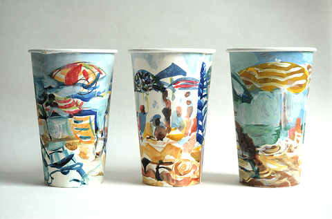 Gwyneth Leech Groups Watercolor and gouached on upcycled paper coffee cups