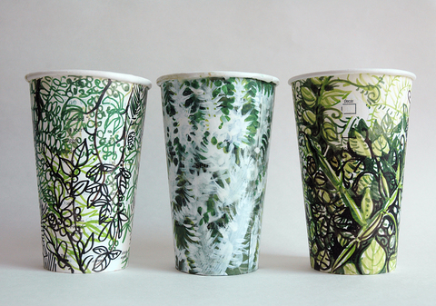 Gwyneth Leech Groups Mxed Media on upcycled paper coffee cups
