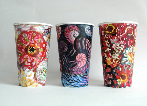 Gwyneth Leech Groups India ink and gouache on upcycled paper coffee cups