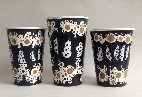 Gwyneth Leech Groups India ink and Sumi ink on upcycled paper coffee cups