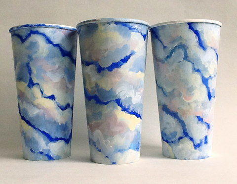 Gwyneth Leech Groups Gouache on upcycled paper coffee cups