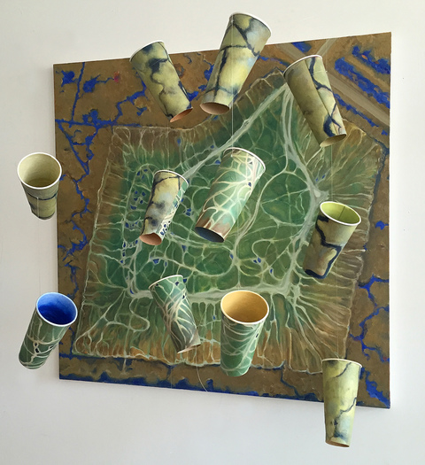 Gwyneth Leech Suspended Oil on canvas and oil on canvas mounted on upcycled coffee cups suspended on monofilament
