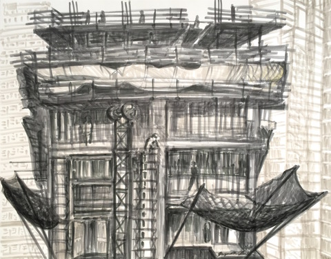 Gwyneth Leech Construction Series  India ink on paper