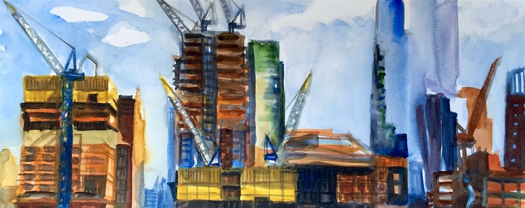 Gwyneth Leech Construction Series  Watercolor on paper
