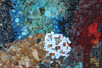 Harry Powers Cosmology Stone. smalti mosaic in concrete