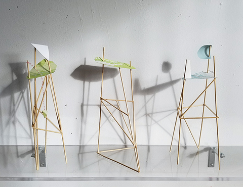 Heather Swenson New Work paper, wooden dowels