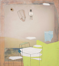 Heather Swenson 2013 acrylic, watercolor, found objects on sheer polyester fabric