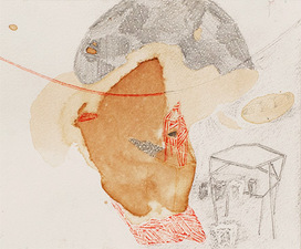 Heather Swenson Small Works tea stains, pencil and colored pencil on paper