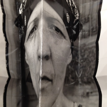 heather sheehan Where the Other Meets the Self digital image of a folded darkroom print from 35mm analogue self-portrait photograph