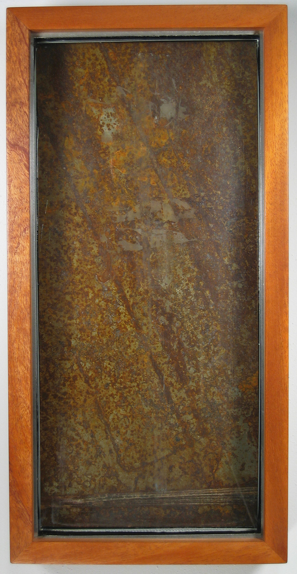 HEIDI BARKUN Assemblages Rusted steel on wood & found glass pane; mahogany box