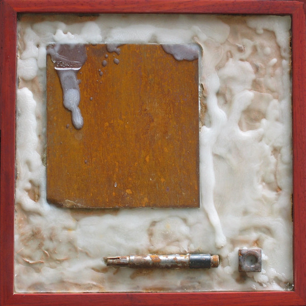 HEIDI BARKUN Imprints Cement, rusted steel, beeswax, found objects on plywood; African padauk frame