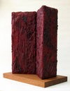 Of Open Waiting Beeswax, oil paint & thread on 3-D canvas stretcher; mahogany base