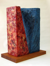 Of Open Waiting Beeswax & oil paint on 3-D canvas stretcher and plywood structure; mahogany base