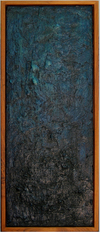 falling Beeswax, oil paint, sand and canvas on plywood; dark walnut frame