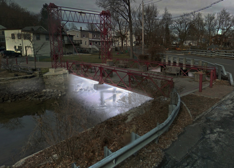 Lisa Hein & Robert Seng Sparkill Creek Drawbridge Lighting sequence, phase 1 of 3: full span illuminates creek bed.