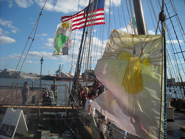 Pride of Baltimore II painted sailcloth