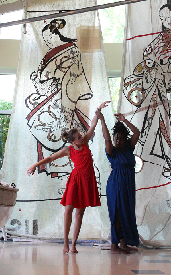 Sailcloth Art Collaborators Lindsay Fisher Viatori with Ursula Payne