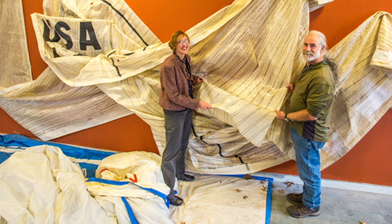 Sailcloth Art Collaborators Heather Hertel & Dr. Ben Shaevitz