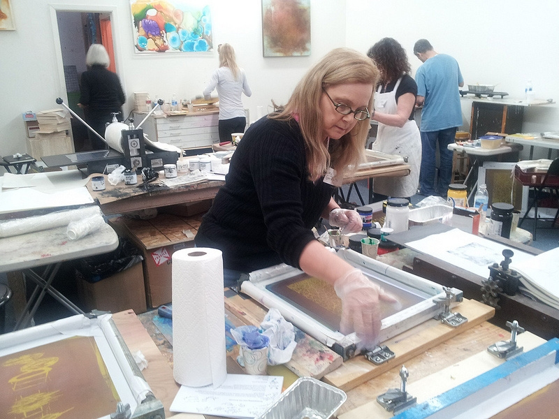 Images from Classes & Workshops screenprinting onto wax