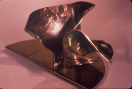 HJ BOTT 	SCULPTURE, DoV patinated, polychromed & polished silicon bronze