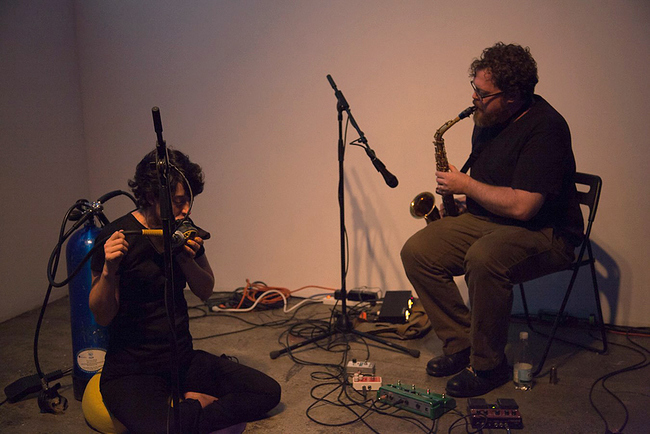 HOPE GINSBURG Breathing on Land: Duet for Scuba and Saxophone, 2015 Photo courtesy of Fridman Gallery
