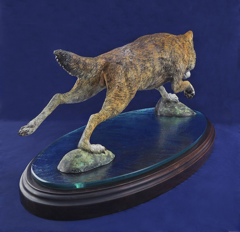 HULSEY TRUSTY STUDIOS Sculpture Bronze on Glass and Walnut Base