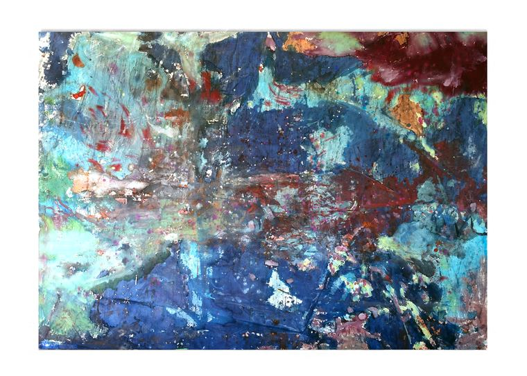 ISOLDE KILLE painting RECORDING OF COLOR ink, sweet water pearls, threat on canvas