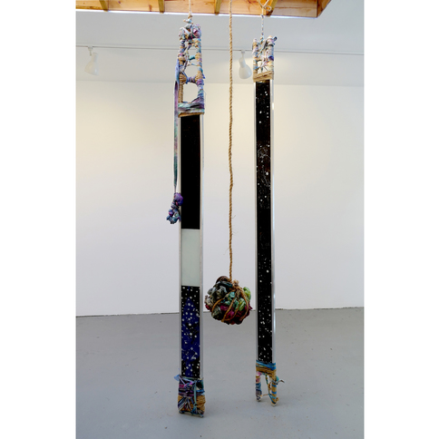 ISOLDE KILLE sculpture TOTEMIC Glass, Aluminum, String, Canvas, Ink, Spray Paint
