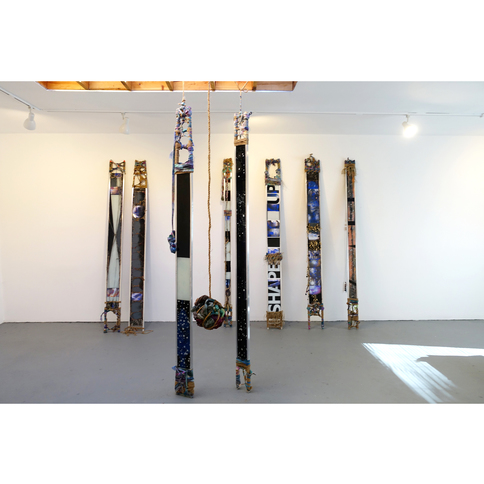 ISOLDE KILLE sculpture TOTEMIC mixed media, glass, aluminum, canvas, string