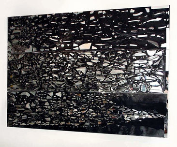 ISOLDE KILLE MIRROR WORKS ink, mirror, on canvas