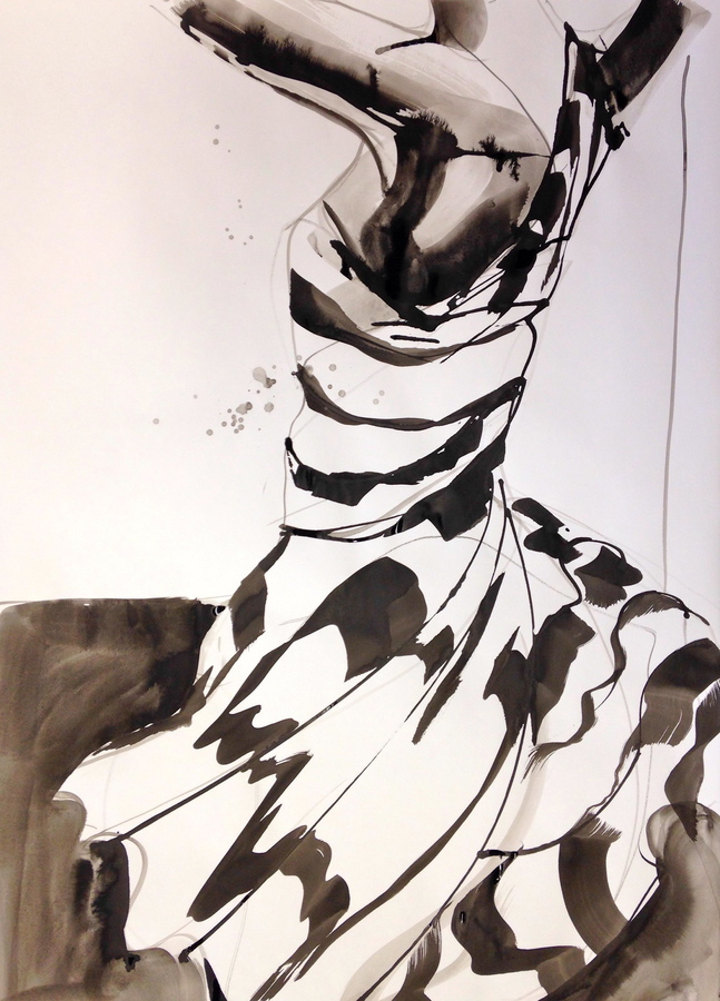Drawing Striped Dress 4