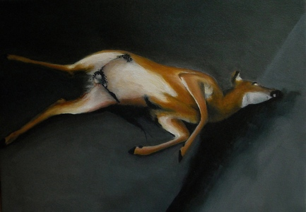 Jackie Skrzynski Deer Roadkill oil on canvas