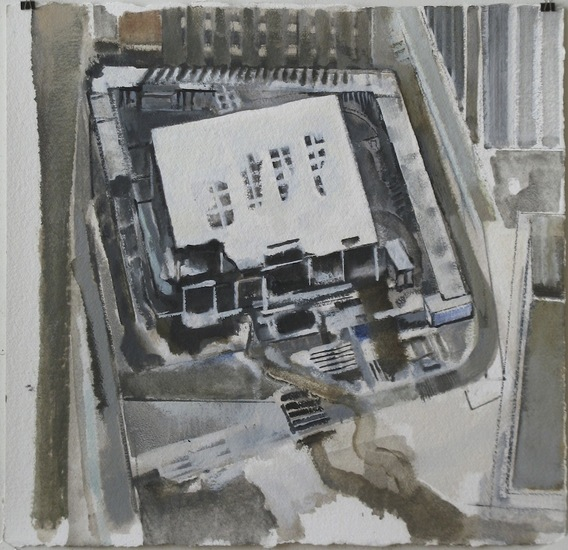 Deutsche Bank Down, Snow, 2011, Oil on paper, 23x23
